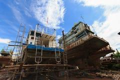 Dock des Fischerbootes Stockbilder