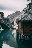 Dock. In Lake Braise, Trentino, Italy Royalty Free Stock Image