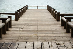 Dock. Empty dock in calm lake royalty free stock photos