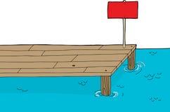 Dock en bois avec le signe Images libres de droits