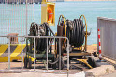 Dock equipment at the berth in Piombino seaport. Italy Royalty Free Stock Photos