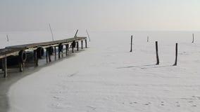 Dock et lac congelé dans le delta de Danube banque de vidéos
