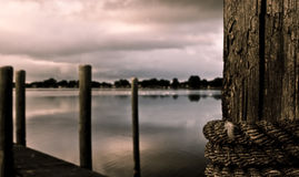 Dock at first dawns light Royalty Free Stock Photos