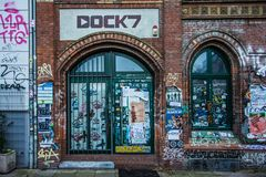 Dock 7 front door old graffiti place stock photography