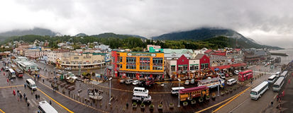 Dock Front Shopping Panorama Ketchikan Alaska Stock Photography