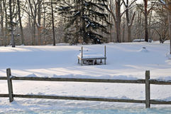 Dock on frozen pond Royalty Free Stock Photography