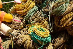 Dock full of rope used in the fishing trade stock images