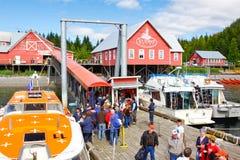 Dock glacial occupé de passager de point de détroit de l'Alaska Images libres de droits