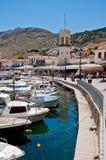 Dock of Hydra island. Having a cruise trip in Greek island world definiately worth a visit in Hydra Stock Image