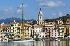 Dock of Imperia in Liguria stock photography