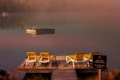 Dock on Lac-Superieur, Mont-tremblant, Quebec, Canada royalty free stock photo