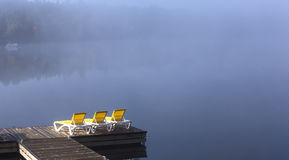 Dock on Lac-Superieur, Mont-tremblant, Quebec, Canada Royalty Free Stock Image