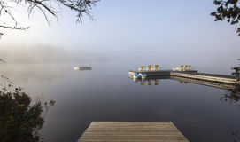 Dock on Lac-Superieur, Mont-tremblant, Quebec, Canada Royalty Free Stock Photos