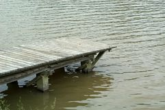 Dock in lake. Empty wooden dock used primarily for fishing Royalty Free Stock Photos