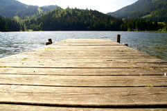 Dock in a lake royalty free stock photography