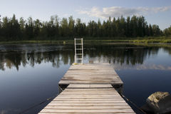 Dock on a lake Stock Photo
