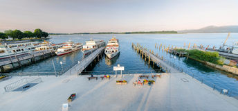 Dock On the Lake Chiemsee. Dock in the Bavarian city Prien on The lake Chiemsee Stock Images
