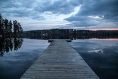 Dock, Lake, Finland, Dark, Evening Royalty Free Stock Images
