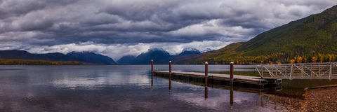 The dock on Lake MacDonald in Glacier National Park. Royalty Free Stock Images