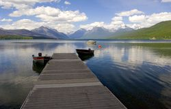 Dock, Lake McDonald. Photo of a Dock, Lake McDonald, Glacier National Park, Montana USA stock images