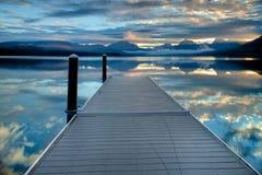 Dock on Lake McDonald in Glacier National Park, Montana, USA Royalty Free Stock Photography