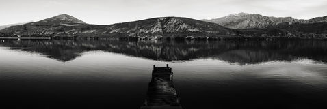 Dock On Lake Mountain Landscape Concept Stock Photography