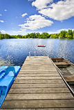 Dock on lake in summer cottage country royalty free stock photography