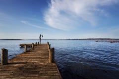 Dock on Lake Washington. Public dock at Marine Point, Kirkland, Lake Washington, on a sunny Spring morning Royalty Free Stock Photography