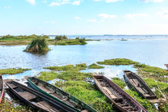 Dock landing caravel, canoe or ship Royalty Free Stock Photo