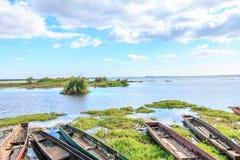Dock landing caravel, canoe or ship Stock Photos