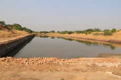 The dock at Lothal. Lothal is one of the most prominent cities of the ancient Indus valley civilization,[located in the Bhāl region of the modern state of Gujar Stock Images