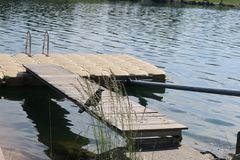 Dock mit Raben Stockbild