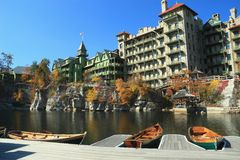 Dock on Mohonk Lake Stock Images
