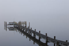 Dock in the Morning Fog Stock Photography
