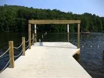 Dock at Mt. Gretna Lake. The dock that separates the swimming area from the boating area on the Mt. Gretna Lake in Pennsylvania Stock Photography