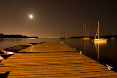 Dock at night Royalty Free Stock Image