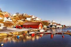 Dock norvégien pour des bateaux Image libre de droits