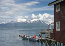 Dock on Norwegian fjord  Royalty Free Stock Images