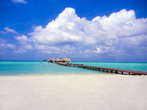 Dock on one of the Maldive islands Royalty Free Stock Photos