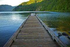 Dock Over Crescent Lake stock image