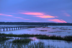 Dock over salt marsh Royalty Free Stock Photos