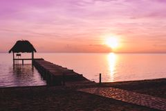 A dock in paradise. Belize Royalty Free Stock Photography