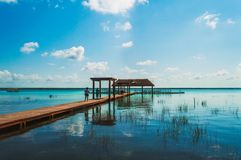 Dock with people royalty free stock photo