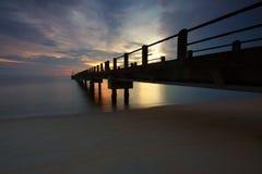 Dock Photo during Sunrise Stock Images