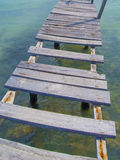 Dock planks. Old wooden dock that fell apart in Cancun royalty free stock photos