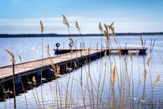 Dock for pleasure and fishing boats Royalty Free Stock Photography