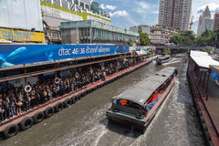 Dock public de bateau Photos stock