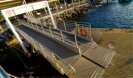 Dock Ramp. Passenger dock ramp for vacationers on Catalina Island Royalty Free Stock Photos