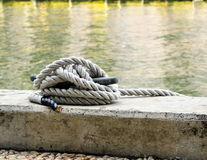 Dock rope. Length of rope tied to dock hook Stock Photography