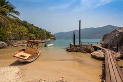 Dock at Saco do Mamangu - Paraty - RJ stock image